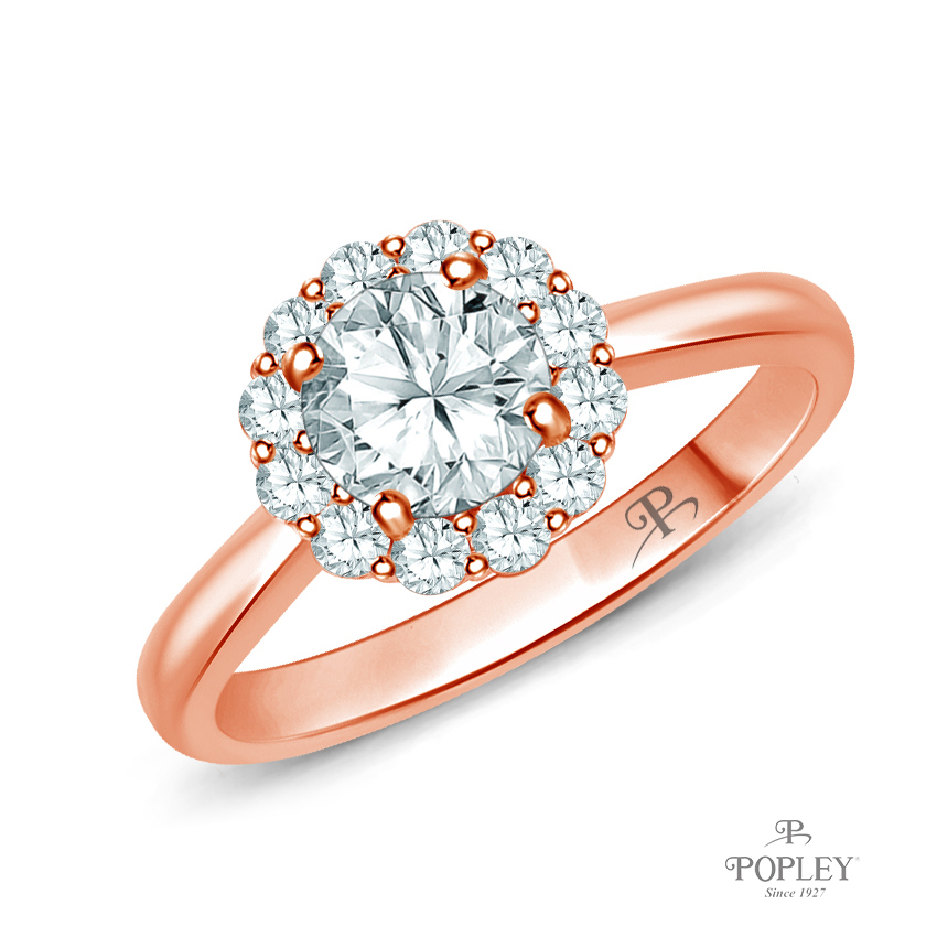 Intricate Flower Design Halo Engagement Ring Semi Mount in Rose Gold