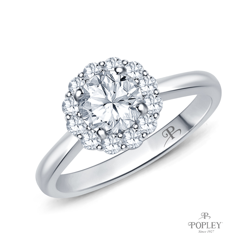 Intricate Flower Design Halo Engagement Ring Semi Mount in White Gold