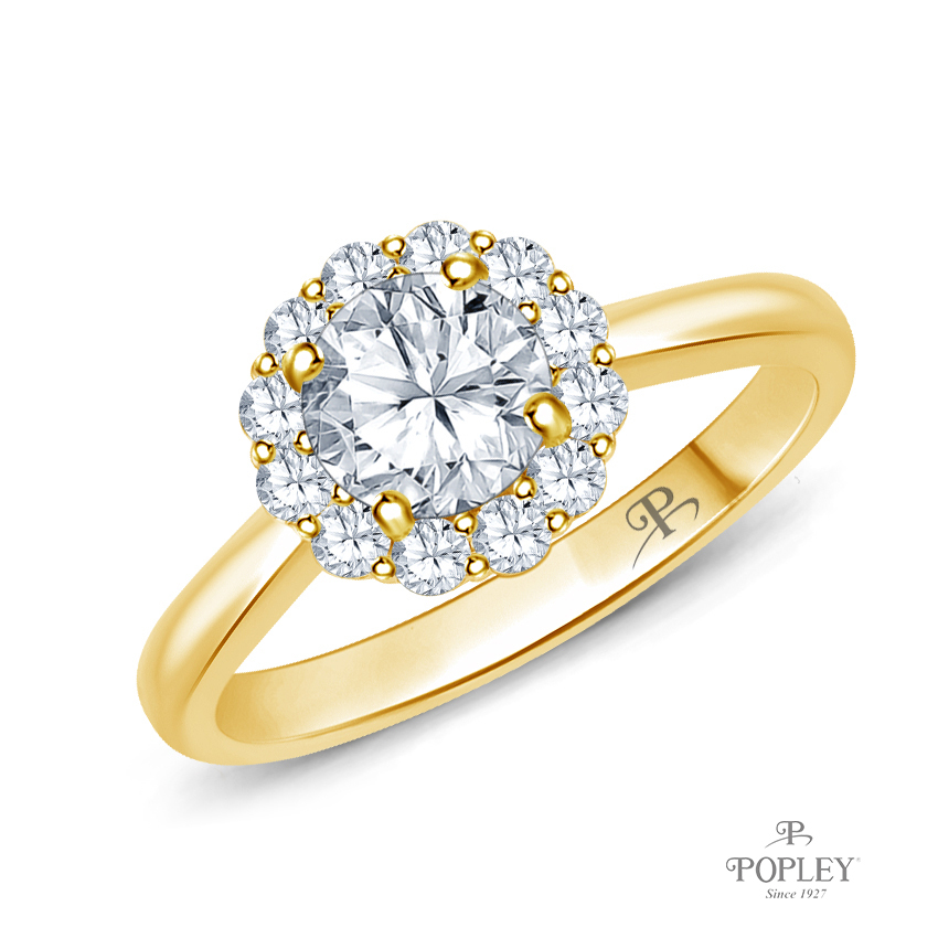 Intricate Flower Design Halo Engagement Ring Semi Mount in Yellow Gold