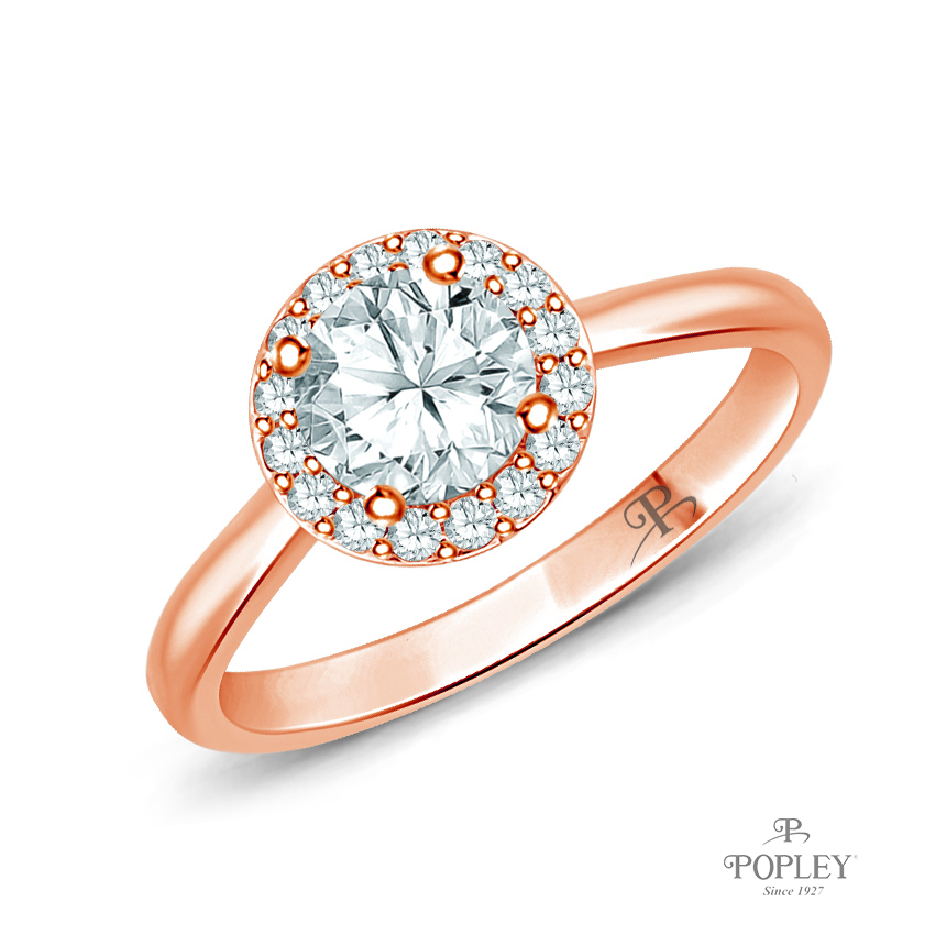Flower Inspired Halo Accents Engagement Ring Semi Mount in Rose Gold