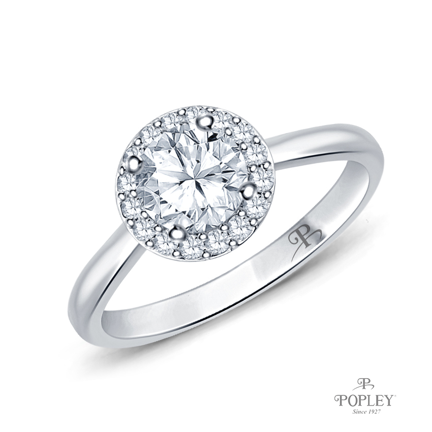 Flower Inspired Halo Accents Engagement Ring Semi Mount in White Gold
