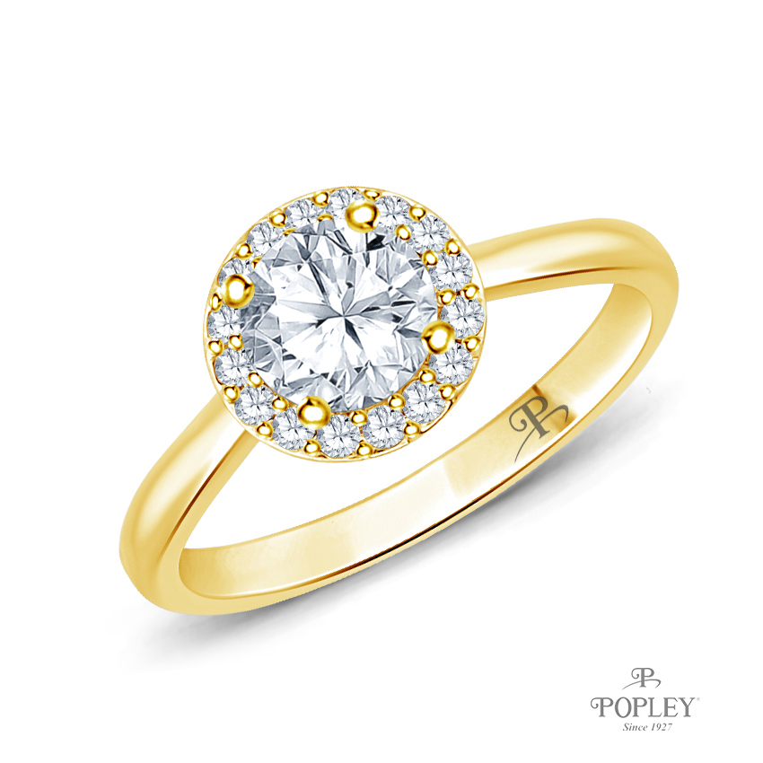 Flower Inspired Halo Accents Engagement Ring Semi Mount in Yellow Gold