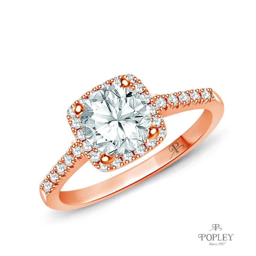 Square Halo Diamond Engagement Ring Semi Mount in Rose Gold