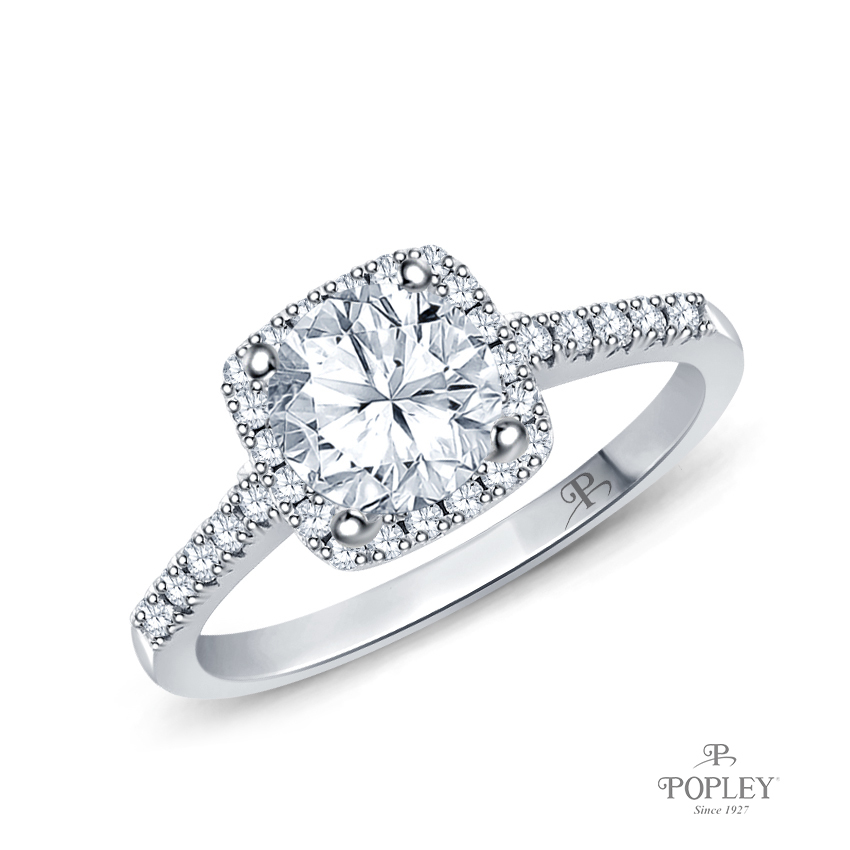 Square Halo Diamond Engagement Ring Semi Mount in Platinum