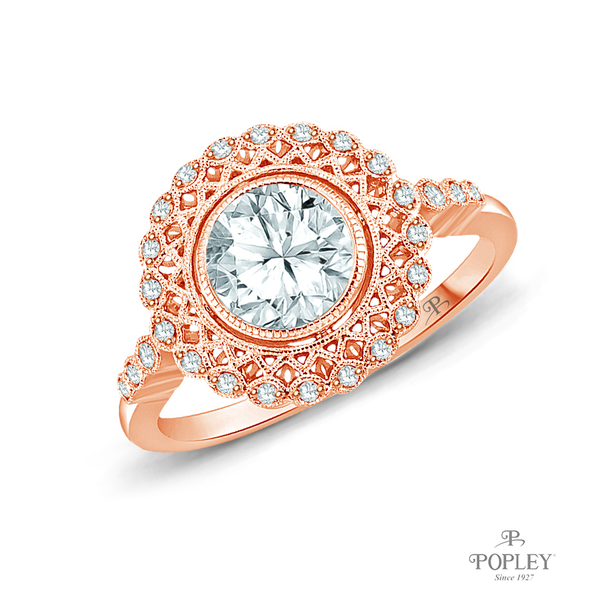 An Intricate Antique Vintage Syle Diamond Engagement Ring Semi Mount in Rose Gold