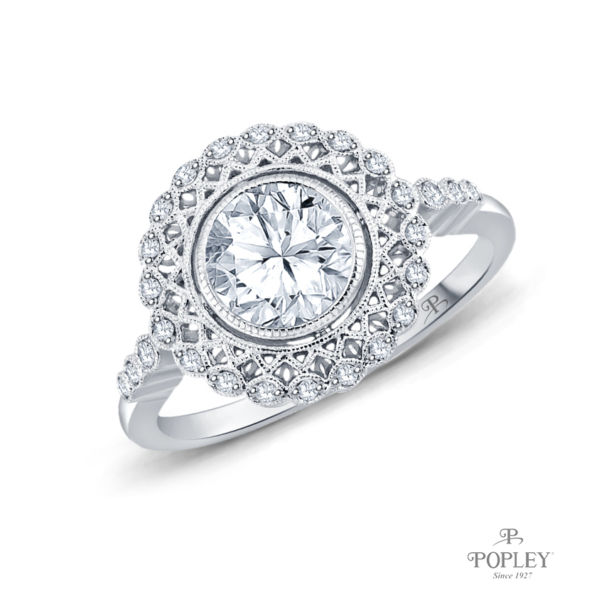 An Intricate Antique Vintage Syle Diamond Engagement Ring Semi Mount in Platinum