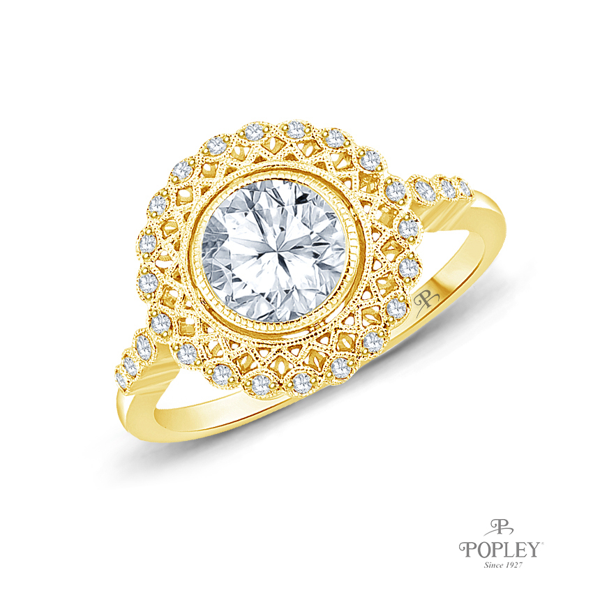 An Intricate Antique Vintage Syle Diamond Engagement Ring Semi Mount in Yellow Gold