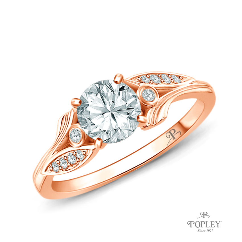 Leaves Inspired Accent Diamond Engagement Ring Semi Mount in Rose Gold