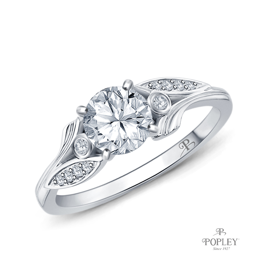 Leaves Inspired Accent Diamond Engagement Ring Semi Mount in White Gold
