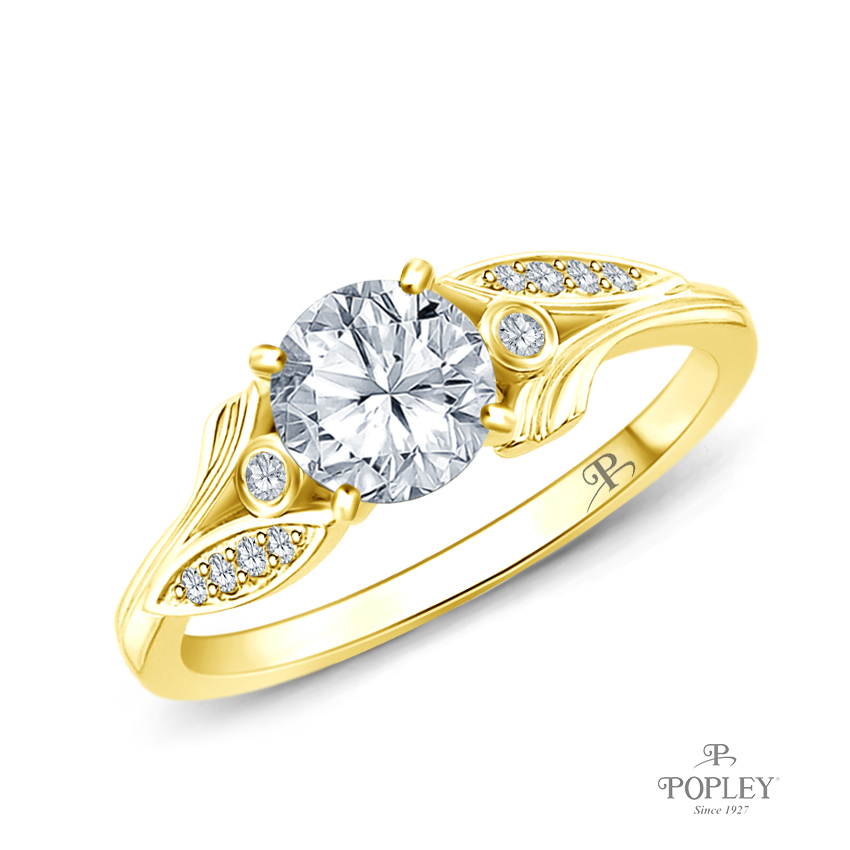 Leaves Inspired Accent Diamond Engagement Ring Semi Mount in Yellow Gold