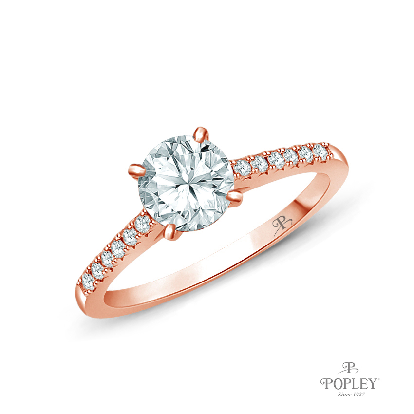 Cathedral Pave Diamond Engagement Ring Semi Mount in Rose Gold
