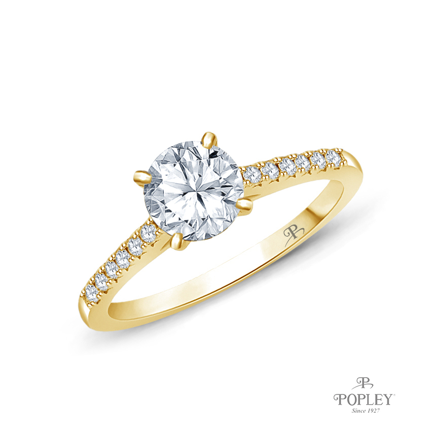 Cathedral Pave Diamond Engagement Ring Semi Mount in Yellow Gold