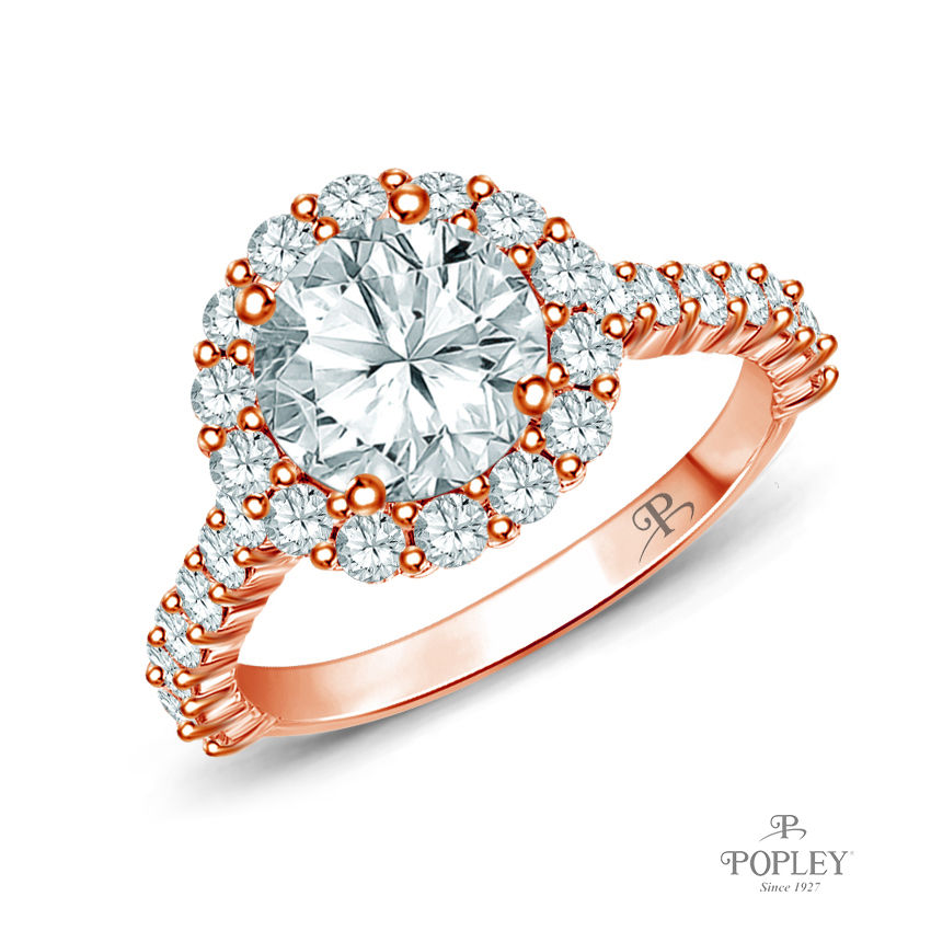 Lotus Flower Halo Style Engagement Ring Semi Mount in Rose Gold