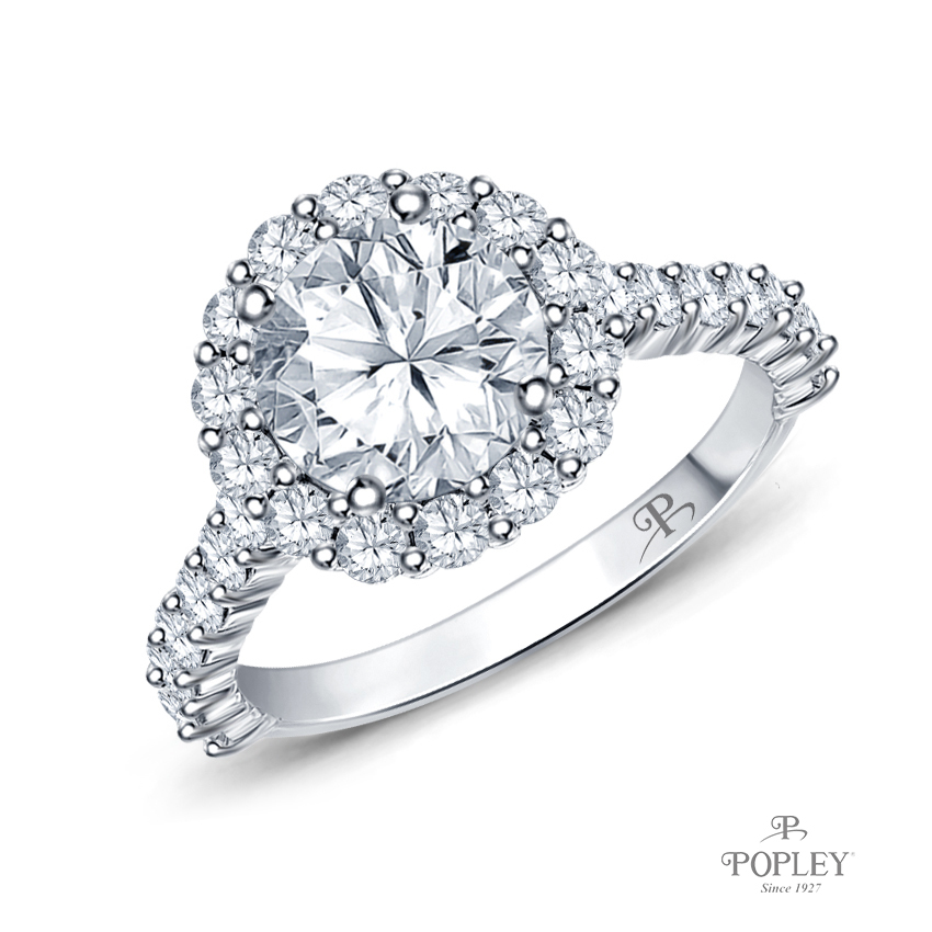 Lotus Flower Halo Style Engagement Ring Semi Mount in White Gold