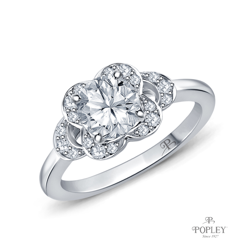 Floral Petal Design Diamond Engagement Ring Semi Mount in Platinum