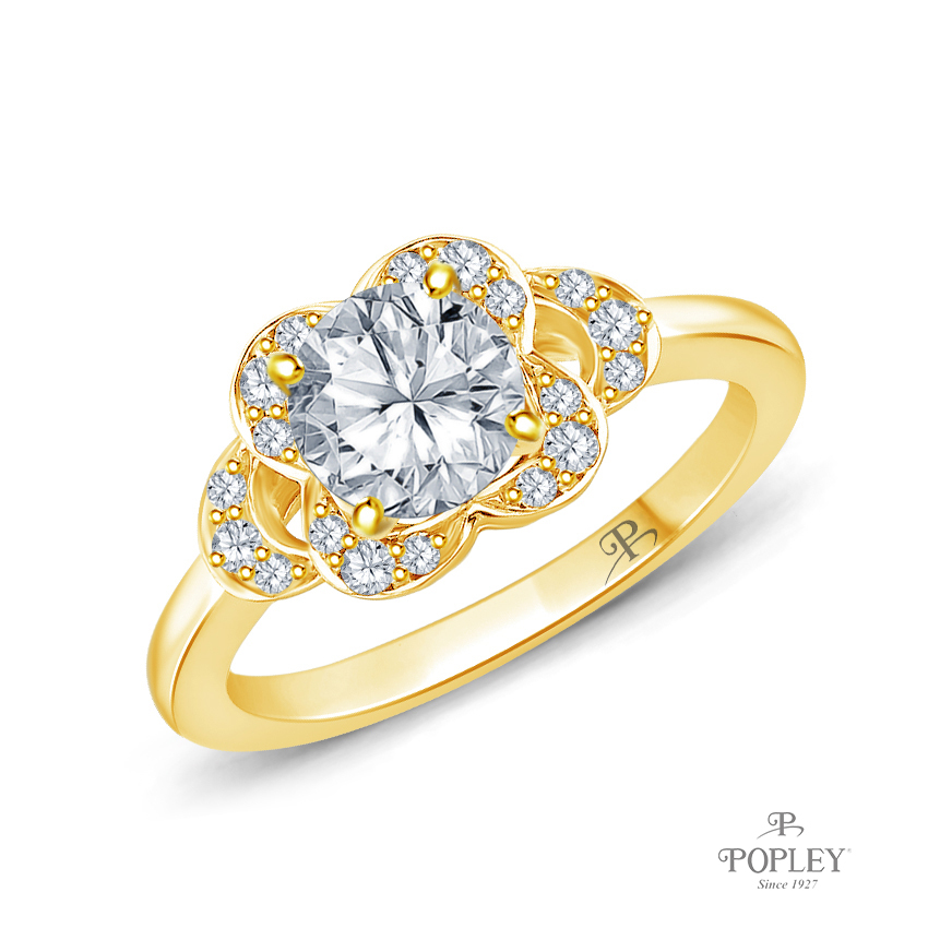 Floral Petal Design Diamond Engagement Ring Semi Mount in Yellow Gold