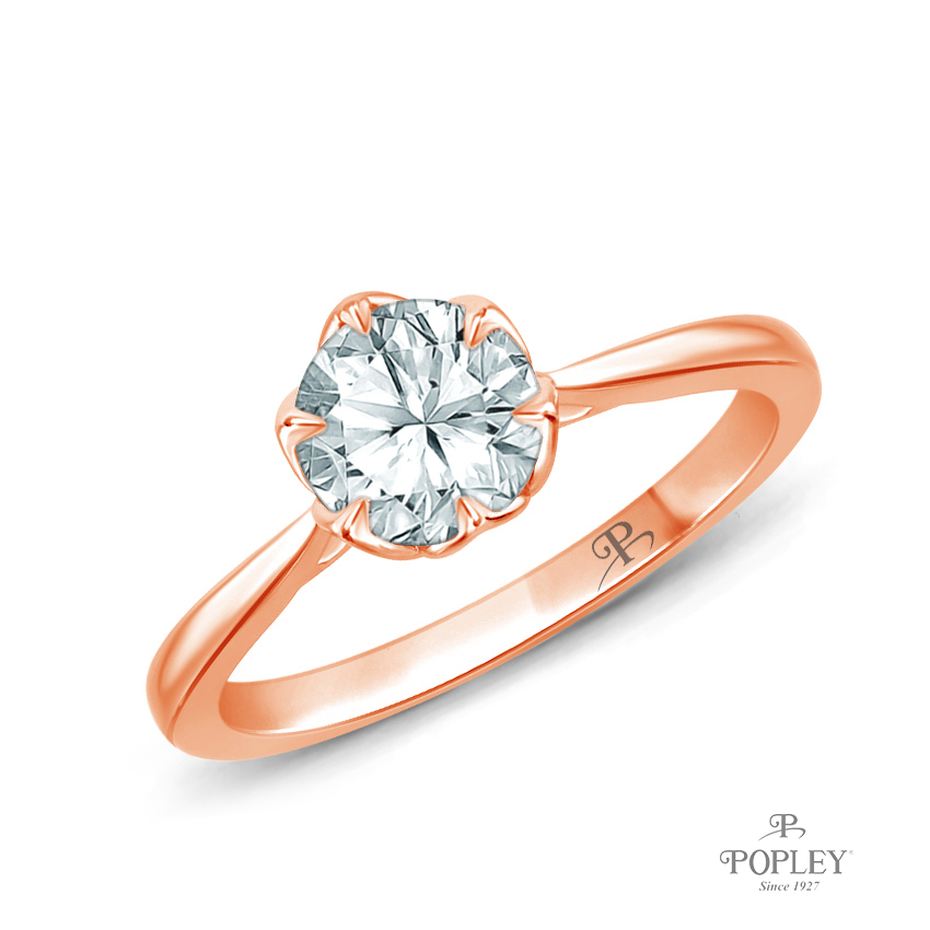 Solitaire Ring Claw Prong Flower Petal Basket Design Semi Mount in Rose Gold