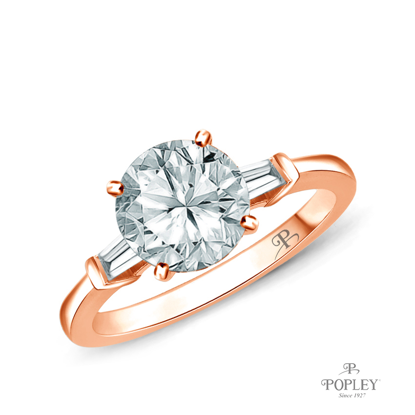 Tapered Style Baguette Side Stones Engagement Ring Semi Mount in Rose Gold