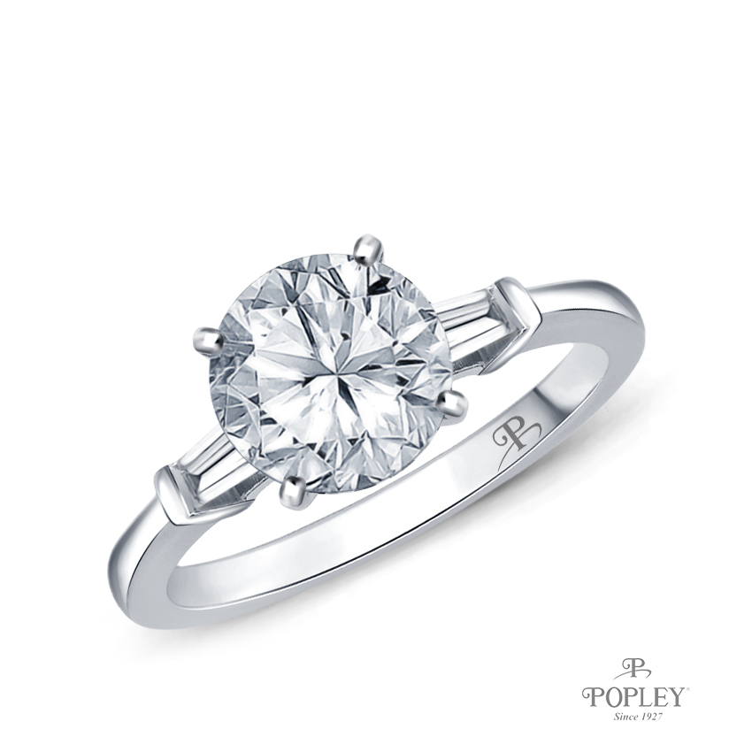 Tapered Style Baguette Side Stones Engagement Ring Semi Mount in White Gold