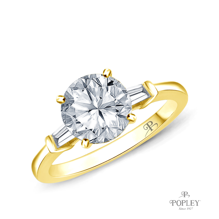 Tapered Style Baguette Side Stones Engagement Ring Semi Mount in Yellow Gold