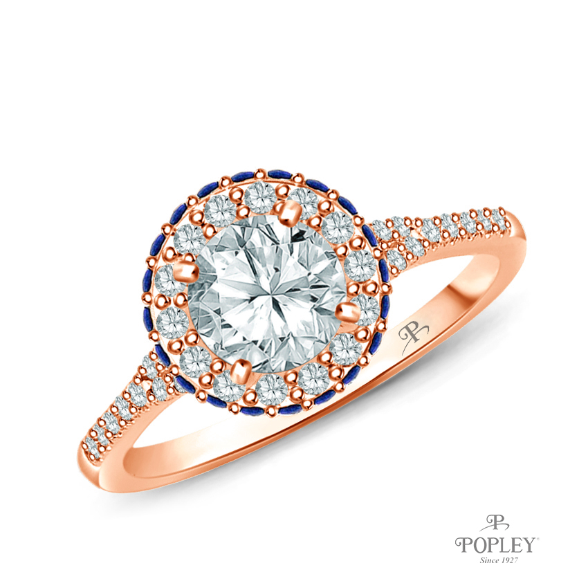 Vibrant Sapphires and Halo Diamond Accents Setting Semi Mount in Rose Gold