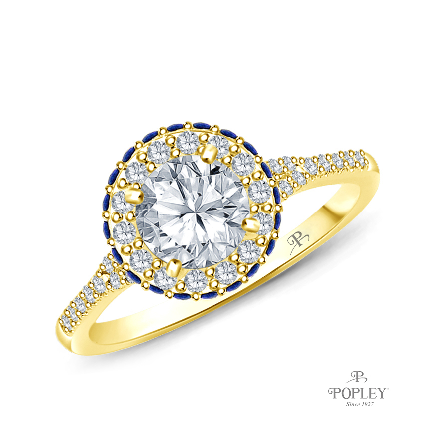 Vibrant Sapphires and Halo Diamond Accents Setting Semi Mount in Yellow Gold
