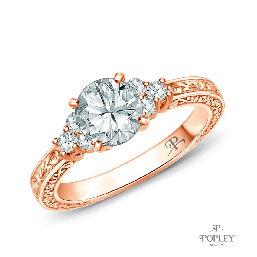 Adorned Scroll Engarving Trio Diamond Engagement Ring Semi Mount in Rose Gold