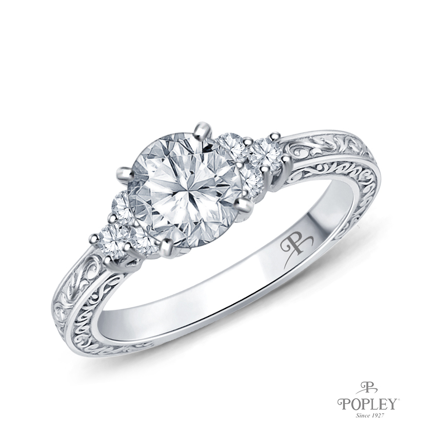 Adorned Scroll Engarving Trio Diamond Engagement Ring Semi Mount in Platinum