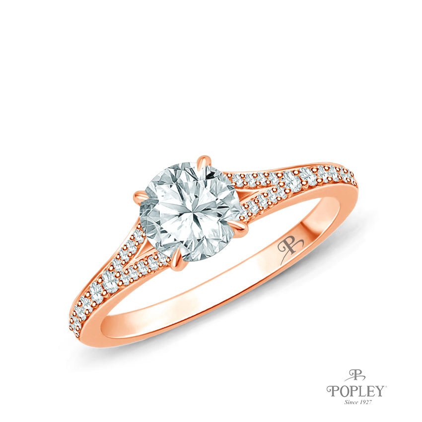 Diamond Accents Set in a Split Shank Setting Semi Mount in Rose Gold
