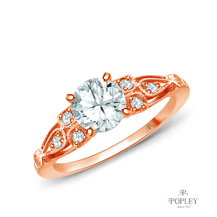 A Vintage Milgrain Style Diamond Engagement Ring Semi Mount in Rose Gold