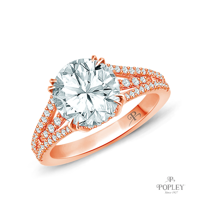 Split Shank Dual Claw Diamond Engagement Ring Semi Mount in Rose Gold