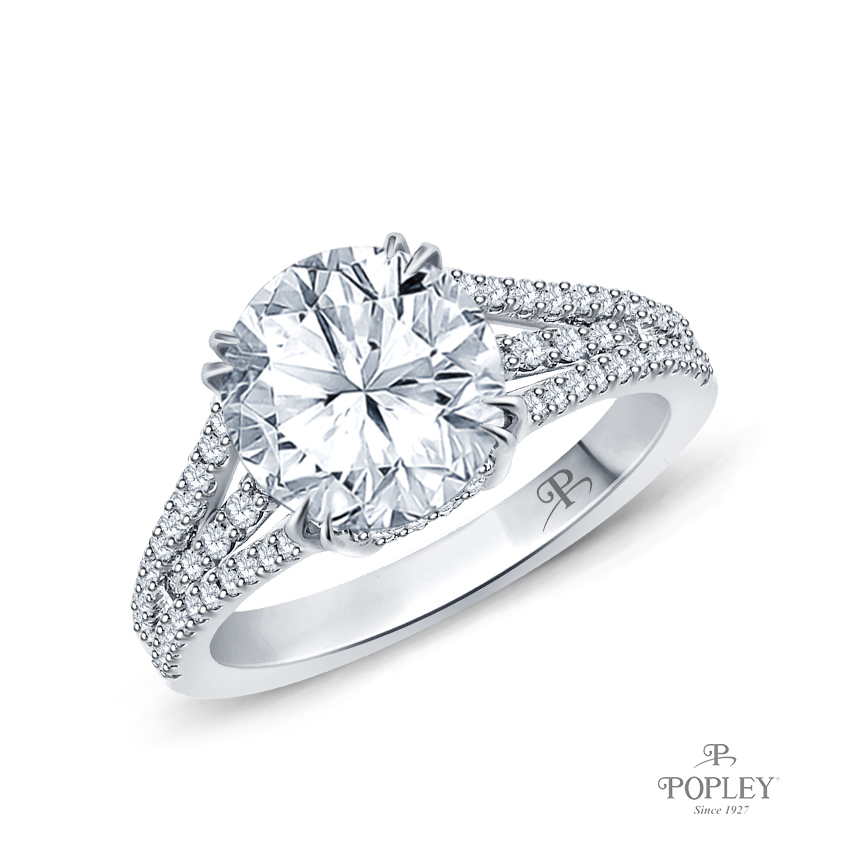 Split Shank Dual Claw Diamond Engagement Ring Semi Mount in Platinum