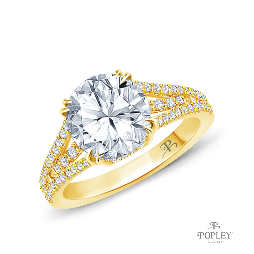 Split Shank Dual Claw Diamond Engagement Ring Semi Mount in Yellow Gold