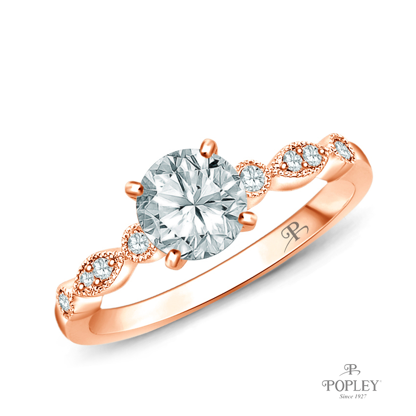 A Marquise Style Setting With Detailed Milgrain Semi Mount in Rose Gold