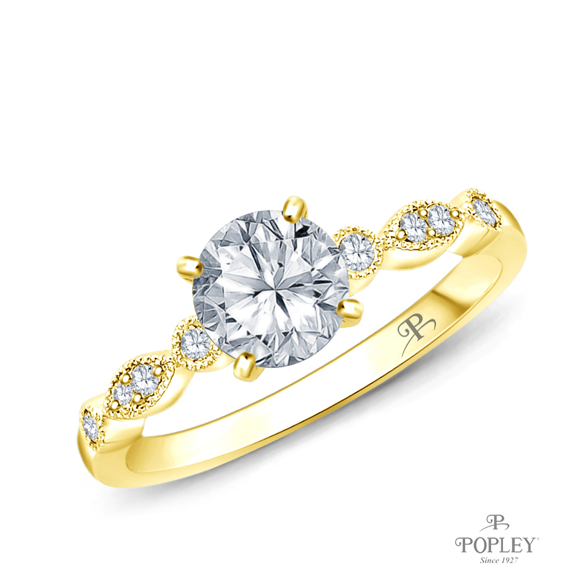 A Marquise Style Setting With Detailed Milgrain Semi Mount in Yellow Gold