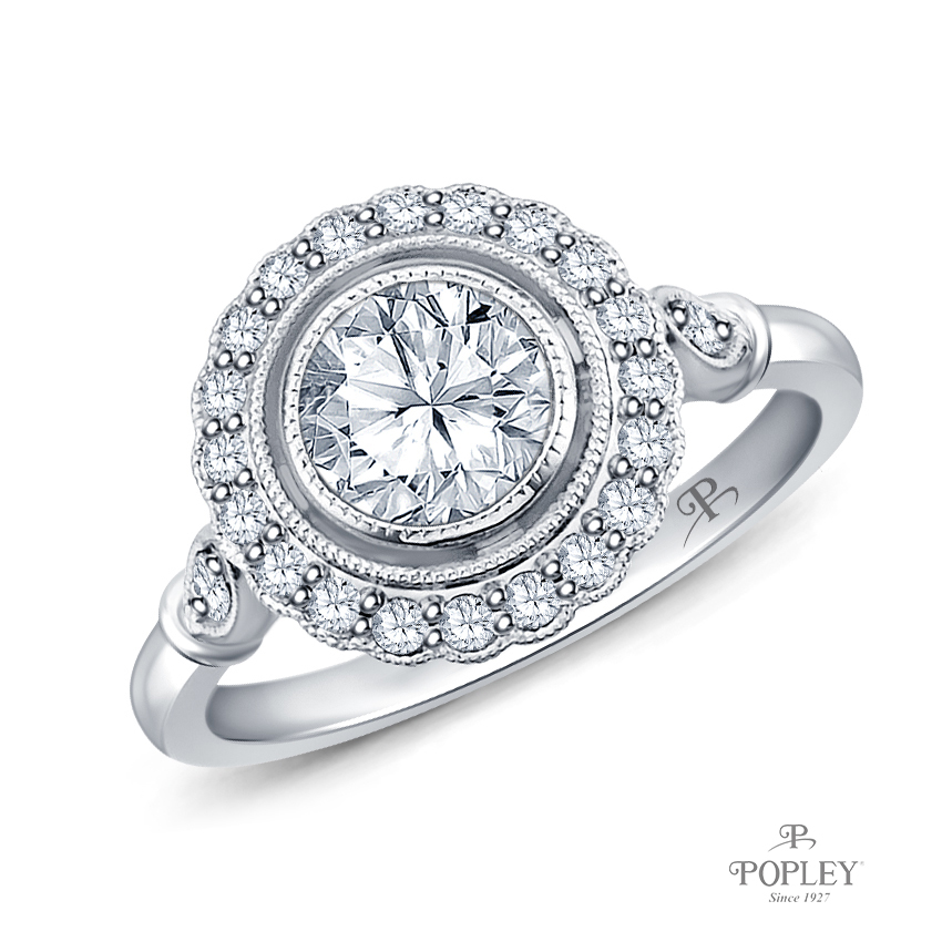 Halo Accents With Intricate Milgrain Design Setting Semi Mount in White Gold