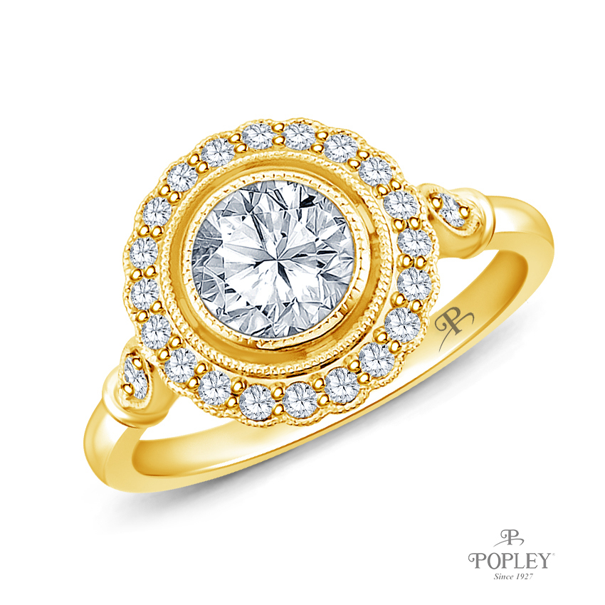 Halo Accents With Intricate Milgrain Design Setting Semi Mount in Yellow Gold