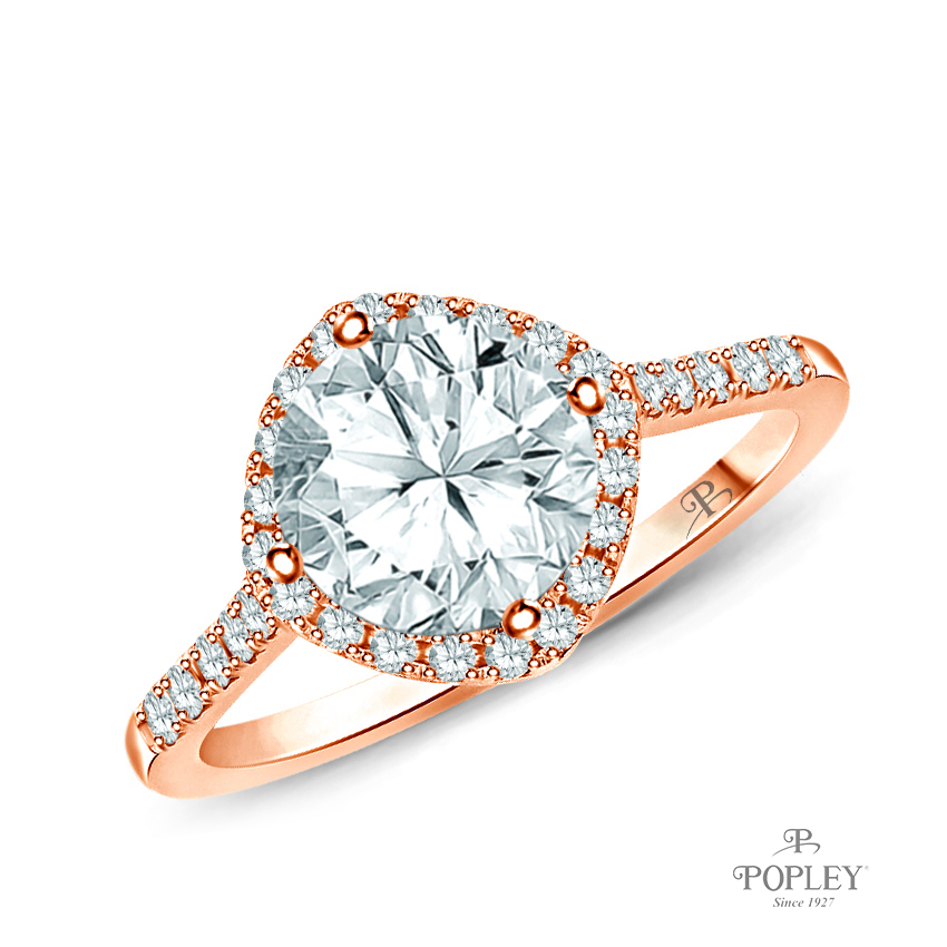 Kite Style Halo Accent Diamond Engagement Ring Semi Mount in Rose Gold