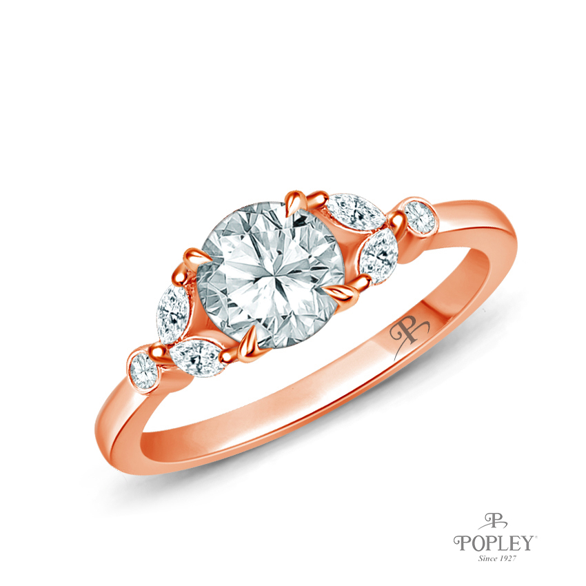 Nature Inspired Leave Design Marquise and Round Side Stones Engagement Ring Semi Mount in Rose Gold