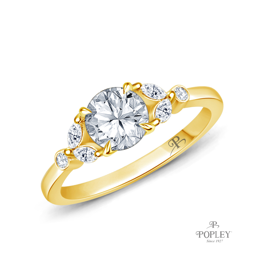 Nature Inspired Leave Design Marquise and Round Side Stones Engagement Ring Semi Mount in Yellow Gold