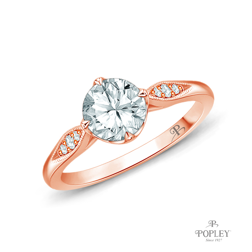 Milgrain Detail Flower Diamond Engagement Ring Semi Mount in Rose Gold