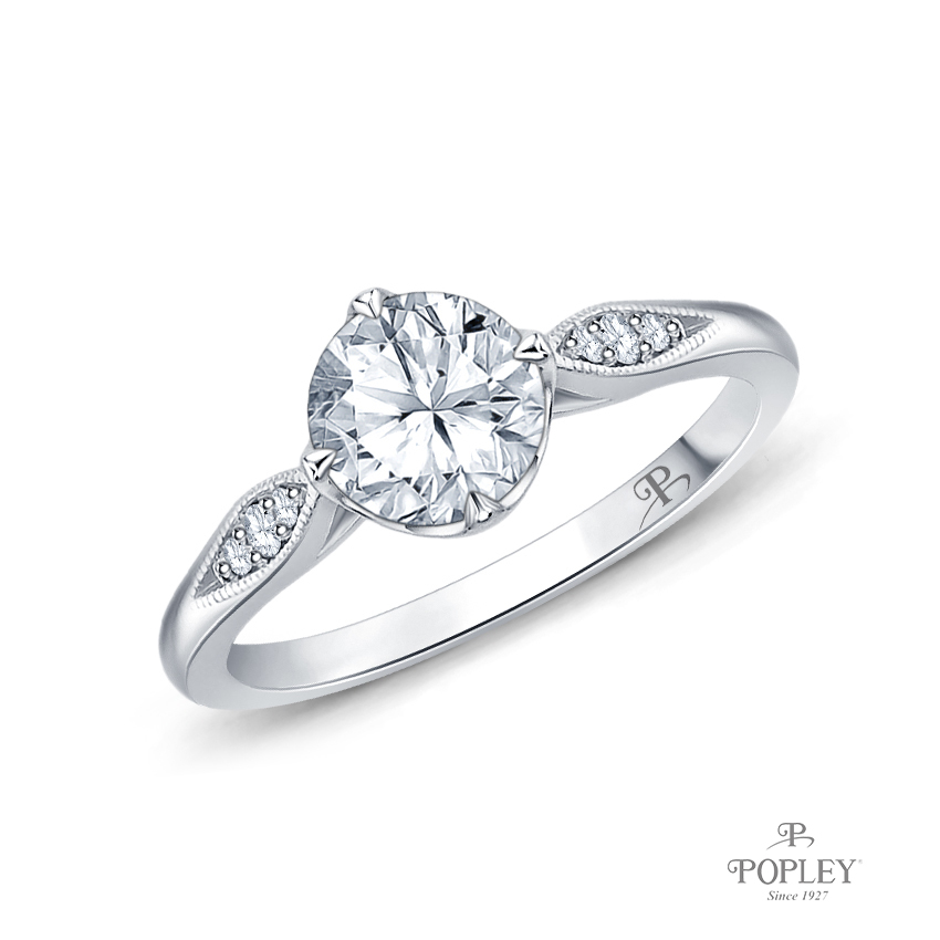 Milgrain Detail Flower Diamond Engagement Ring Semi Mount in White Gold