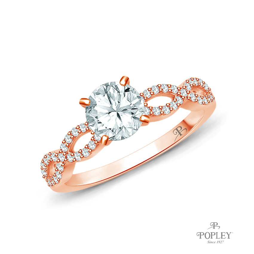 A Twisted Spirals With Accents Setting Semi Mount in Rose Gold