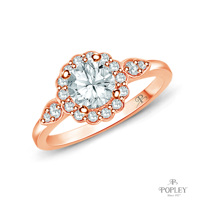 Petal Designed Shank with Intricate Halo Accents Engagement Ring Semi Mount in Rose Gold