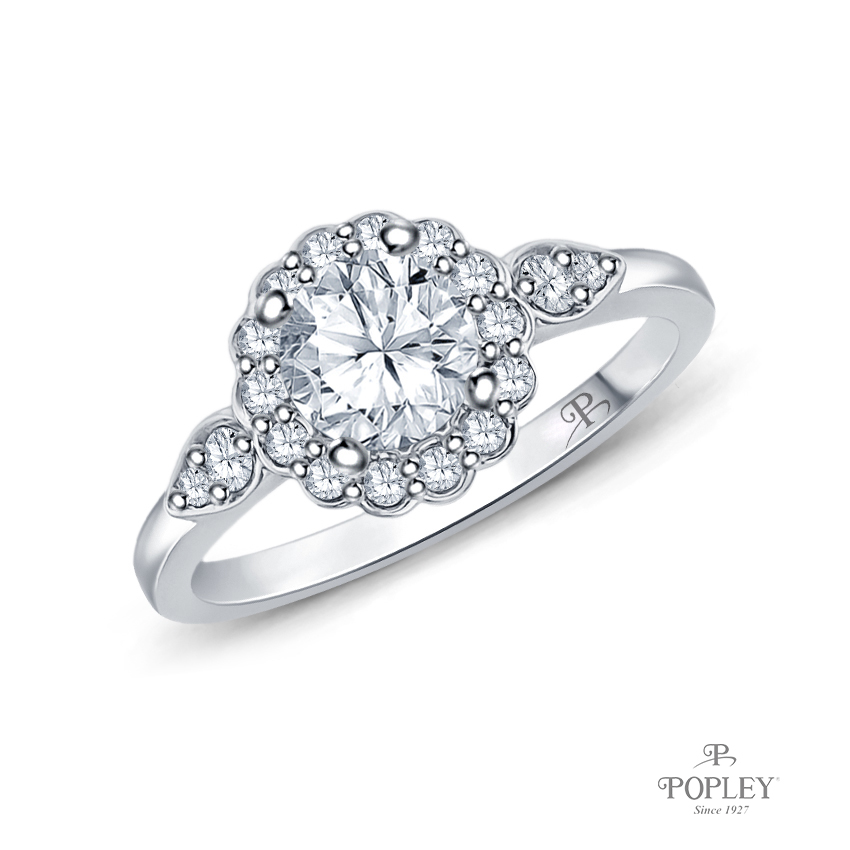 Petal Designed Shank with Intricate Halo Accents Engagement Ring Semi Mount in White Gold