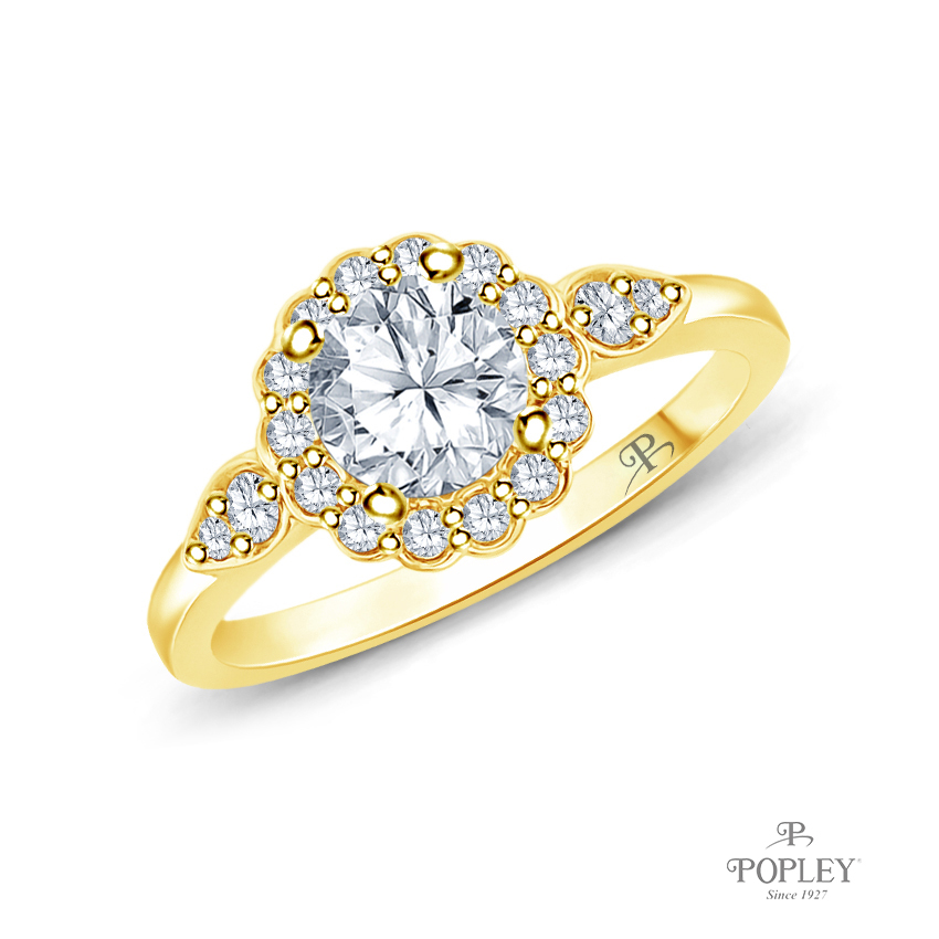 Petal Designed Shank with Intricate Halo Accents Engagement Ring Semi Mount in Yellow Gold