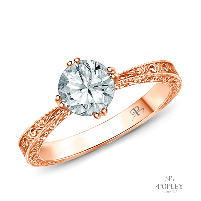Tapered Double Prong Scroll Design Setting Semi Mount in Rose Gold