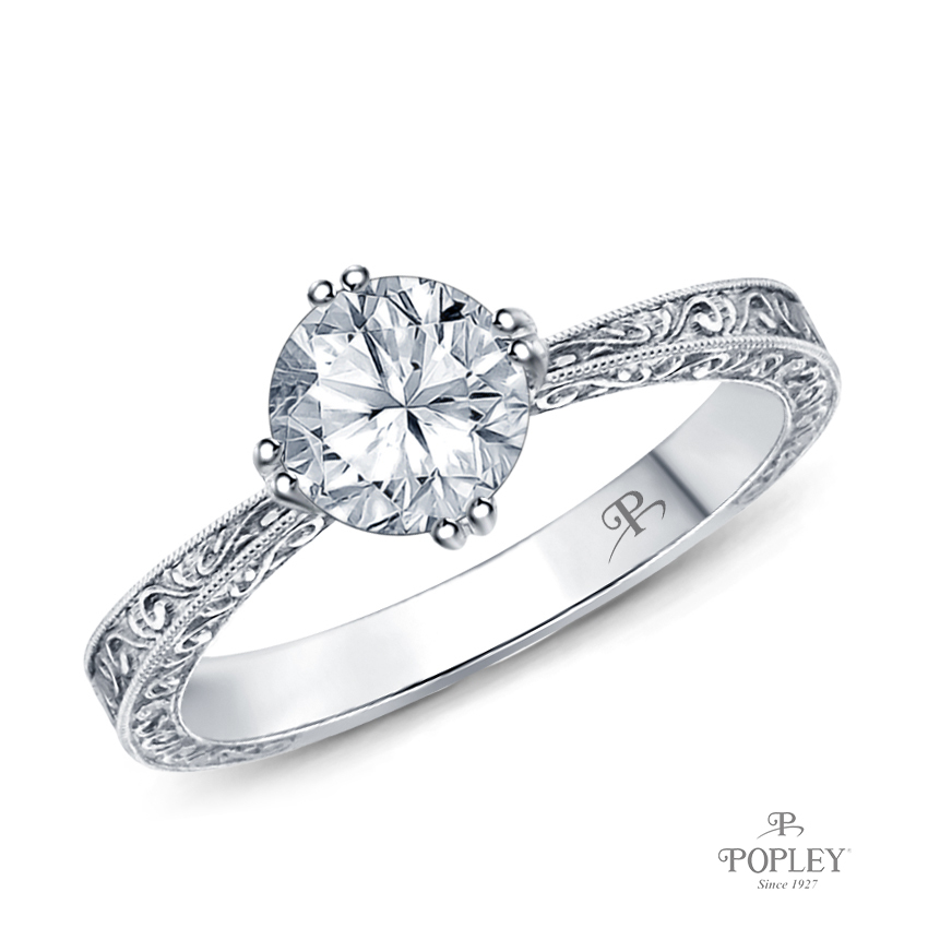 Tapered Double Prong Scroll Design Setting Semi Mount in Platinum