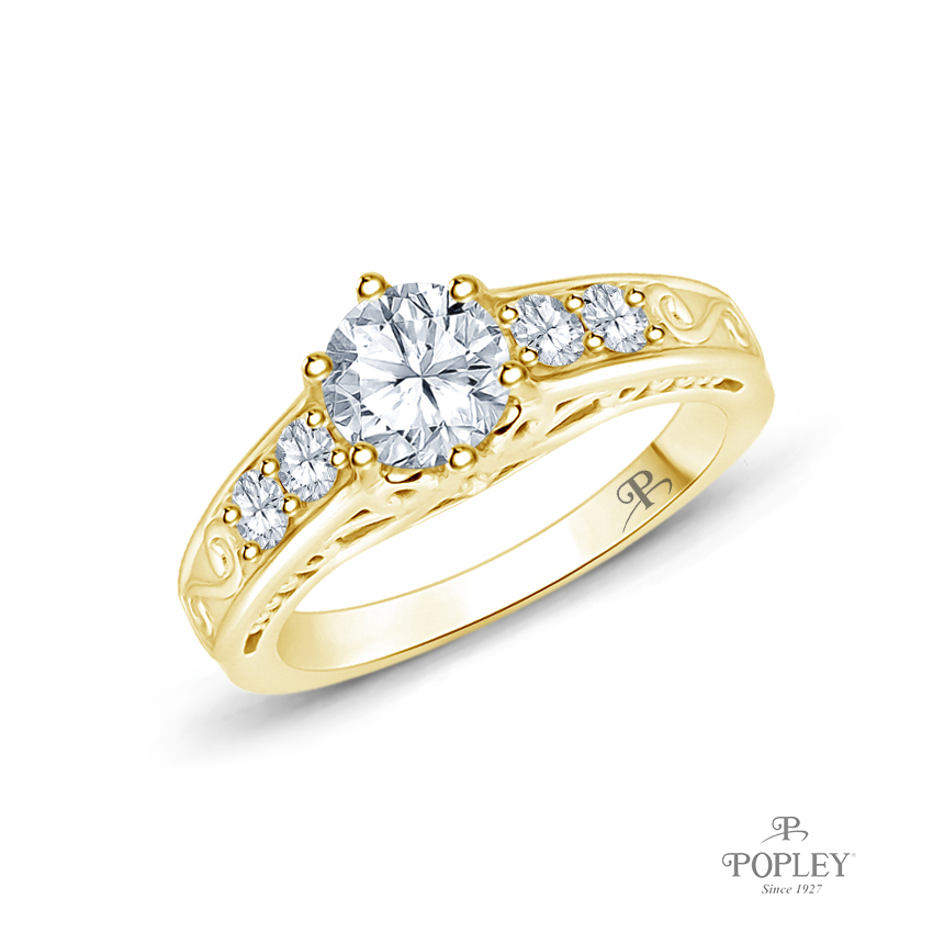 Scroll Filigree Accent Diamond Engagement Ring Semi Mount in Yellow Gold