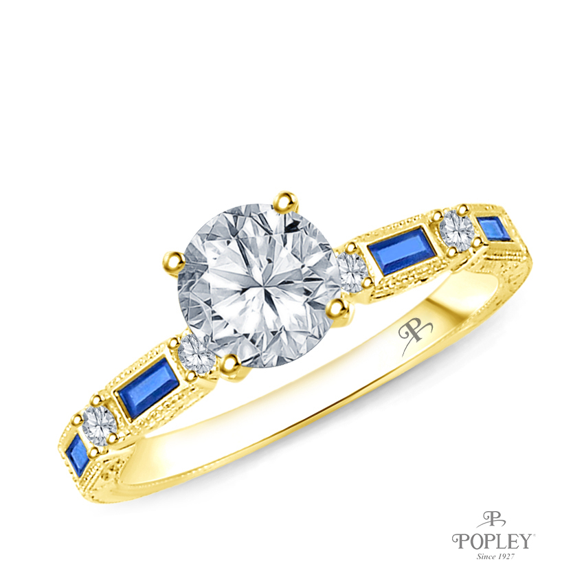 Baguette Sapphire and Round Diamond Accents Ring Semi Mount in Yellow Gold